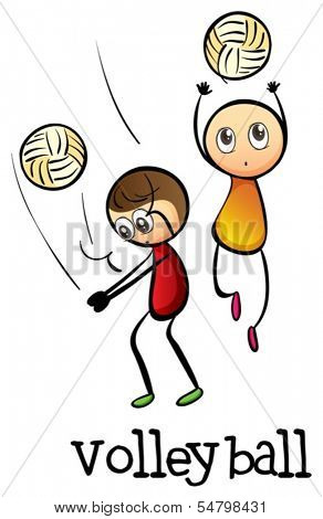Illustration of the stickmen playing volleyballs on a white background