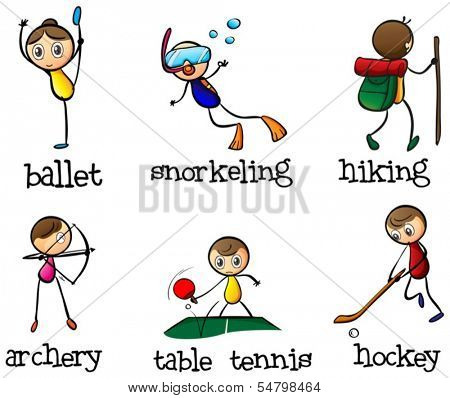 Illustration of the different sport activities on a white background