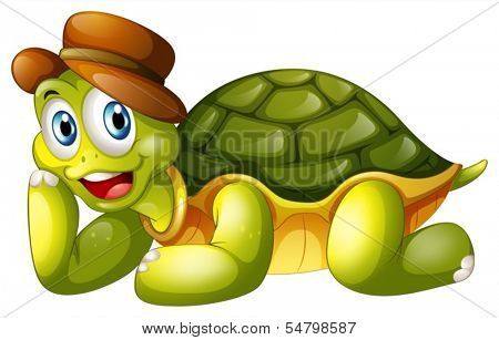 Illustration of a smiling turtle lying down on a white background