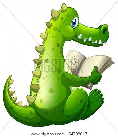 Illustration of a crocodile reading on a white background
