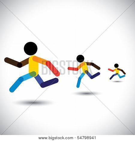 Colorful Vector Icons Of Sprint Athletes Racing In A Competition