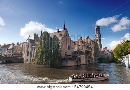 boat with tourists on channel Bruges