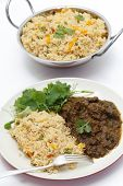 stock photo of kadai  - Methi gosht or fenugreek lamb - JPG