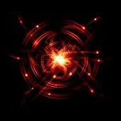 picture of quantum physics  - Image of color atoms and electrons - JPG