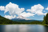 stock photo of hoods  - Mount Hood view from Trillium lake - JPG