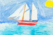 stock photo of sailing vessels  - children painting  - JPG