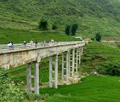 foto of hmong  - Amazing Bridge In Sapa Mountains In North of Vietnam near China - JPG