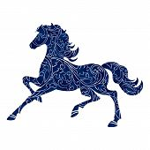 pic of year horse  - Symbol of Year 2014 blue horse isolated icon vector silhouette illustration - JPG