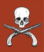 image of crossed pistols  - Hand drawn dead head with two crossed flintlock pistols - JPG