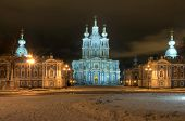 stock photo of nicholas  - St. Nicholas Cathedral in Saint-Petersburg. Winter night illuminated view.