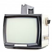 image of televisor  - Vintage portable television set on white background - JPG