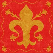 Gold Fleur De Lys On A Red Background