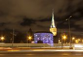 picture of olaf  - Illuminated colorfuul cannon tower Fat Margareta and tall church St - JPG