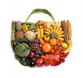 pic of eatables  - studio photography of designer handbag made from different fruits and vegetables  - JPG