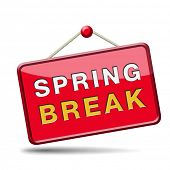 picture of spring break  - spring break holliday or school vacation icon or button - JPG