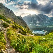 pic of chalet  - mountain landscape with mountain chalet near Poprad Pond High Tatras Slovakia - JPG