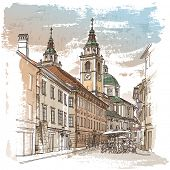 stock photo of tourist-spot  - Vector drawing of central street of old european town - JPG