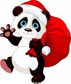 stock photo of pandas  - Cute Panda with a sack full of gifts - JPG