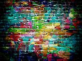 stock photo of paint spray  - graffiti brick wall - JPG