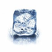 Ice Cube Isolated On White Background Closeup