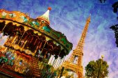 stock photo of funfair  - Eiffel Tower and vintage carousel - JPG