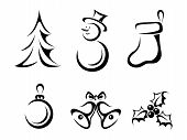 picture of snowmen  - Set of six vector black silhouettes of Christmas elements - JPG