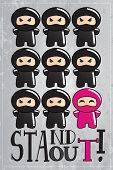 foto of ninja  - Card with cute cartoon ninja character with a message to be unique and stand out from the crowd - JPG