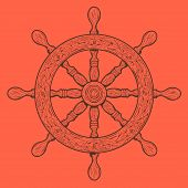 foto of rudder  - Detailed brown outlines nautical rudder isolated on orange background - JPG