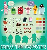 stock photo of monster symbol  - Set of cute little monsters for dress up - JPG