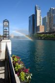 Rainbow over Chicago river Chicago IL USA