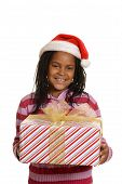 young jamaican girl holding christmas gift