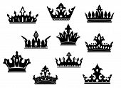 stock photo of crown jewels  - Black heraldic crowns set isolated on white background for design - JPG