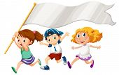 stock photo of playmates  - Illustration of the three kids running with an empty banner on a white background - JPG