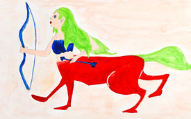 stock photo of centaur  - children drawing  - JPG