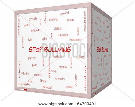 Stop Bullying Word Cloud Concept On A 3D Cube Whiteboard