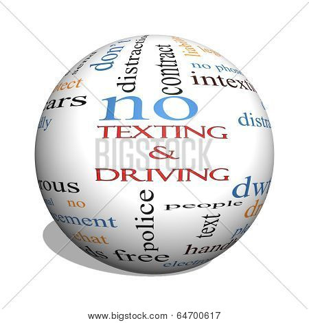 Texting And Driving 3D Sphere Word Cloud Concept