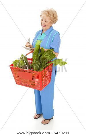 Senior Woman Checks Shopping List