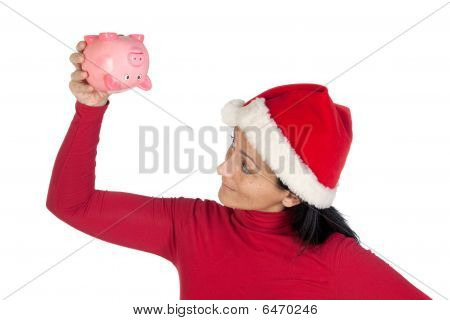Girl At Christmas Flipping A Piggy Bank