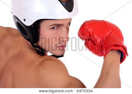 Male Athlete Boxer Helmet