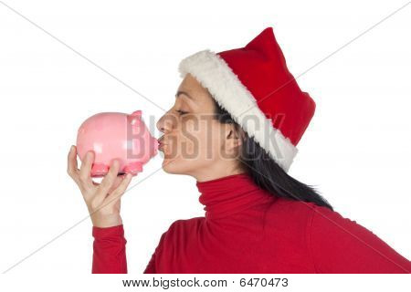 Christmas Girl Giving A Kiss Piggy-bank