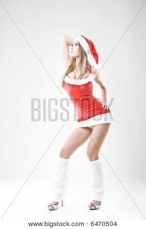 Portrait Of A Beautiful Sexy Santa Girl