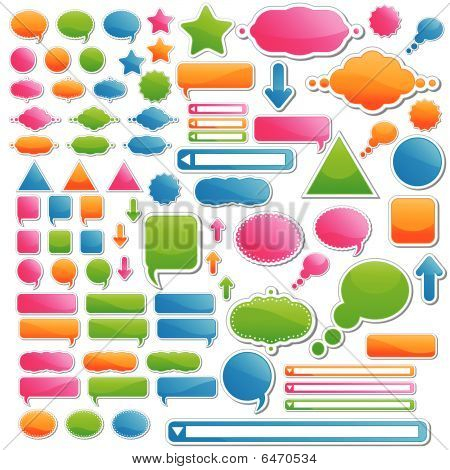 Variety Of Stickers And Icons; All Of Them Come In 4 Delicious Candy Colors