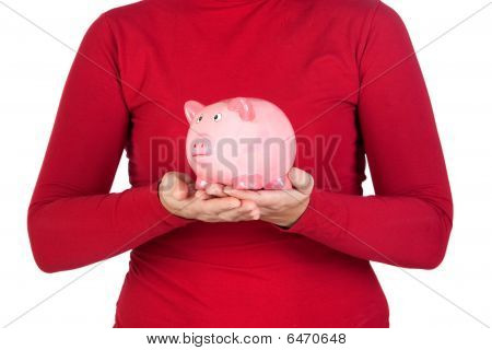 Person In Red With A Piggy Bank On The Hands
