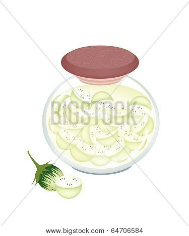 Jar Of Pikled Slice Green Eggplants In Malt Vinegar