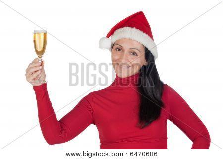 schönes Mädchen mit Weihnachten Hut