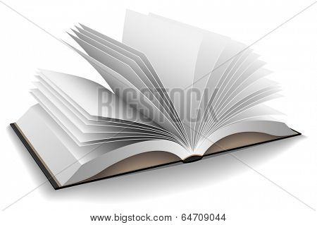 Illustration of opened book with hard black cover isolated on white background.