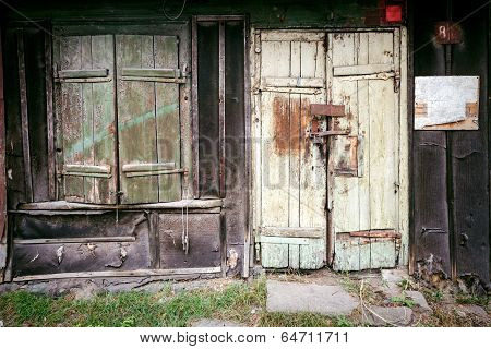 Boarded Up Window And Old Door