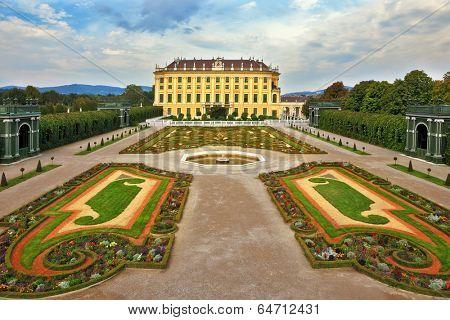 VIENNA, AUSTRIA - SEPTEMBER 26, 2013: Sch�?�?�?�¶nbrunn - the summer residence of the Austrian Habsburgs. Area with flower beds regular geometric forms