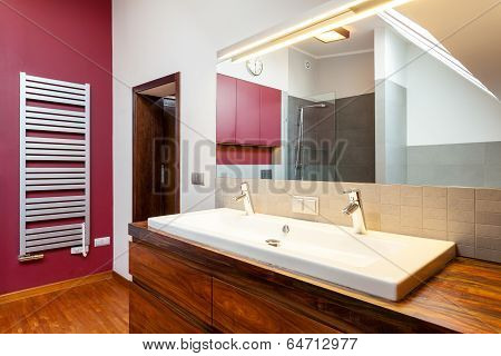 Double Washbasin On Wooden Counter