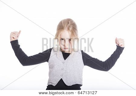 Young Blond Girl With Confident Attitude In Studio